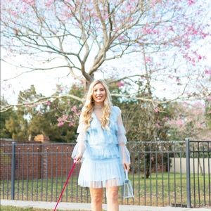 Baby Blue Sheer Tiered Ruffle Dress